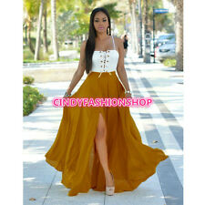 Hot Women Long Beach Casual Spashetti Strp Strings White Top Loose Maxi Dress