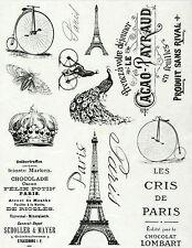 Rice Paper for Decoupage, Scrapbook Sheet, Craft Vintage Labels Paris