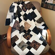 """Unfinished Quilt Top in Black Brown Beige, 33"""" x 46"""", Lap Quilt, Homemade Quilt"""