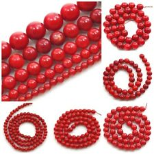 Natural Gemstone Coral Round Spacer Loose Beads 16''2 3 4 5 6 7 8 10 11 12mm red