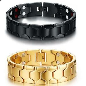 18mm Titanium Germanium Magnetic Energy Mens Bracelet Power Balance Gold Black