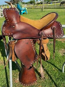 "Nice Used/antique 11""  A fork Western pony saddle w/tapaderos, original cinches"