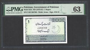 Pakistan On Rupee ND(1975-81) P24A Uncirculated Grade 63
