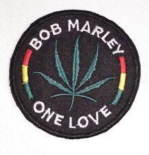 "(F48) BOB MARLEY ONE LOVE Rasta 3"" iron on patch Marijuana Leaf 420"