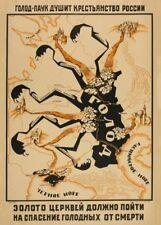 "Russian Propaganda Poster ""THE SPIDER OF HUNGER"" ANTI-RELIGIOUS, REVOLUTION"