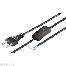 Kabel Leitung mit Stecker und Schalter 1.5m schwarz Euro Lampenkabel NEU