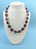 Vintage1950s LARGE Chunky Purple Aurora Borealis Glass Necklace RARE
