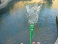 Antique Tiffin Franciscan 4 Water Wine Goblets Stem 1117-5 Cut Etched Green Stem