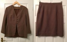 Vintage Ladies Jacket Skirt Suit Size 14 Brown Retro 80s UK Straight Mad Men