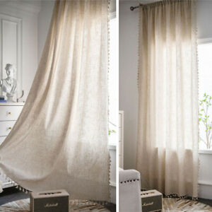 Cotton Linen Curtains for Living Room Bedroom Tassels Window Drapes Treatment