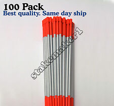 Driveway Markers Snow Stakes 100 Pack of 48'' Orange Reflective markers 9'' Tape
