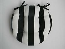 Outdoor Round Tufted Bistro Cushion with Ties - Black & White Stripe Fabric