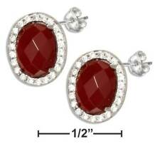 Genuine .925 Sterling Silver Oval Red Carnelian Earrings With Micro Pave CZ Halo