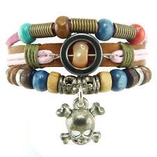Bracelet femme ou ado réglable cuir marron tête de mort métal multicolore