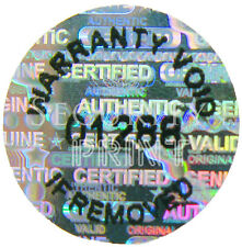 """250qty VOID, numbered, Hologram Holographic stickers labels 12mm (1/2"""")"""