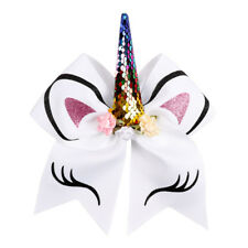 "3D White Unicorn Sequin & Glitter Cheerleading Cheer Dance Bow. Large 7"" Size"