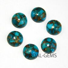 15 PCS LOT RECONSTRUCTED BLUE COPPER TURQUOISE 14X14 MM ROUND CABOCHON LOOSE