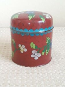 Antique Chinese Cloisonne Red Enamel Round Box with Flower