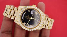 Rolex President Day Date 2 41mm Yellow Gold Watch Iced Out 24 Carat Diamonds