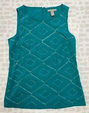 Banana Republic Womens Summer Green Casual Beaded Sleeveless Tank Top Size 4