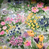 VTG Scarf Hot Pink Floral Neck Fashion Sheer Watercolor Garden Botanical Bold