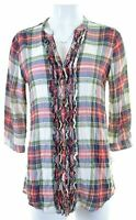 ABERCROMBIE & FITCH Womens Shirt 3/4 Sleeve Size 10 Small Multi Check  ND23