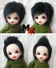 "3""-4""9-10cm BJD fabric fur wig black for AE PukiFee lati 1/12 Doll Antiskid"