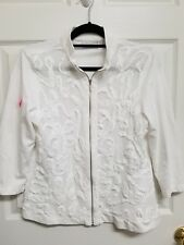 WEEKENDS by Chico's Size 0 White Zip Front 3/4 Sleeve Topper Jacket *see note*