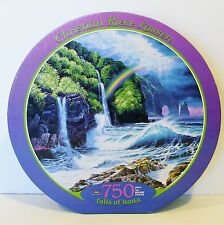"""Round Puzzle 750 Piece *falls of hana* by Christian Riese Lassen 24"""" 1997 EUC"""