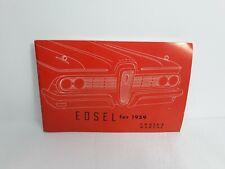 1959 Edsel Ranger Corsair Hardtop Convertible Villager Original Owner'S Manual
