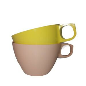Vtg Mallo-Ware By Mallory Melmac Melamine Pair Of Coffee Tea Cups Pink Yellow