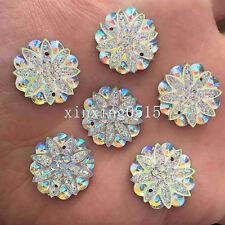 10pcs 18mm AB Resin flower Flat back Rhinestone Wedding 2 Hole buttons /White