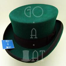 CLASSIC Wool Felt Topper Top Hat Men Victorian Coachman Tuxedo | 57cm | Green