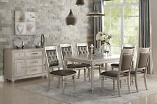 Formal Tufted Silver Finish Side Chairs 7pc Dining Set Rectangular Dining Table