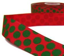 "2 Yds Christmas Green Fun Polka Dot Red Grosgrain Ribbon 7/8""W"