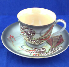 Dragon cup and saucer porcelain moriage painting made in Japan raised details