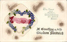 Embroidered WW1 Silk. A Greetings from Sandwich by Birn Brothers.