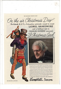 DEC 28 1935 SATURDAY EVENING POST CAMPBELL'S SOUPS CHRISTMAS CAROL AD PRINT K200