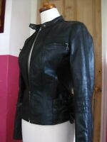 rrp£180+ Ladies NEXT black real leather JACKET COAT UK 6 biker racer girls 15 16