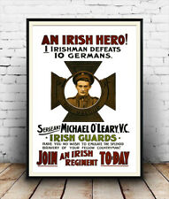 An Irish Hero : Vintage recruitment advertising  ,Reproduction poster, Wall art.