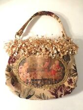 Rose Floral Tapestry Fabric, Antiqued Image, Fringed Bag By Pulvermacher Design