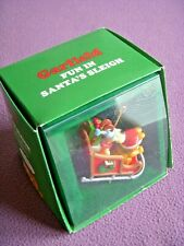 Vintage Enesco Garfield Fun In Santa's Sleigh Christmas Ornament 1978 In Box NEW