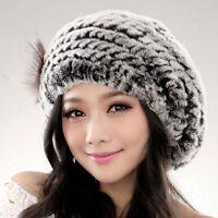 URSFUR Winter Women's Soft Warm Caps Knit Rex Rabbit Fur Beret Hats Fur Flower
