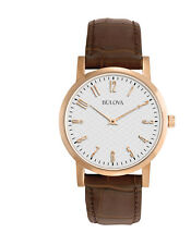 Bulova Classic Men's 97A106 Quartz Rose Gold Case Brown Leather Strap 38mm Watch