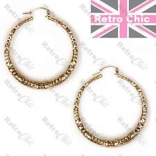 "BIG 2.5"" HAMMERED retro HOOPS GOLD FASHION bamboo HOOP EARRINGS 6.5cm large"