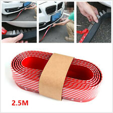 2.5M Car Front Bumper Lip Splitter Body Spoiler Skirt Red Rubber Protector Valid