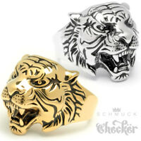 Tiger Ring Edelstahl silber gold hochwertig detailliert Herren Männer Schmuck