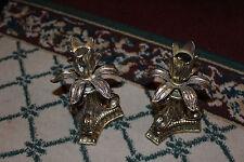 Vintage Silver Metal Tulip Shape Candlestick Holders-Pair Metal Candle Holders