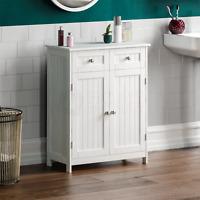 Priano Bathroom Cabinet 2 Drawer 2 Door Storage Cupboard Unit Furniture White