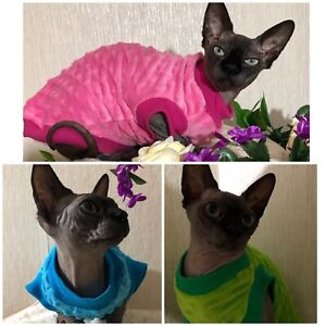 Clothes for Sphynx cat, Devon Rex. Warm Fleece Jumper